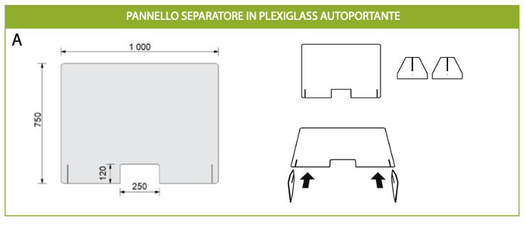 Pannelli separatori in plexiglass